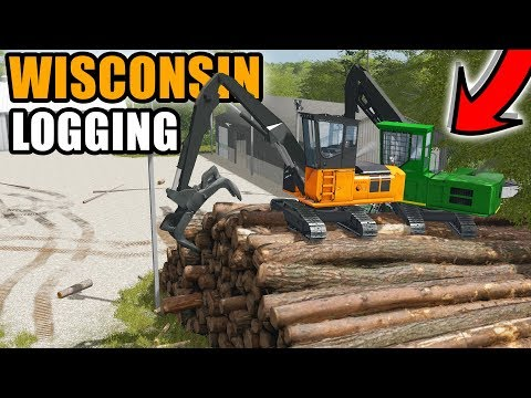WE CLIMBED THE LOG PILE & LOADING UP LOGS | WISCONSIN EP #2 | FARMING SIMULATOR 2017