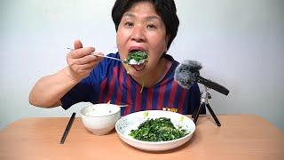 [반찬먹방] 달랑 시금치 반찬 하나로만 먹는 집밥 먹방…