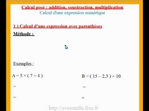 6eme cours de maths sur les calculs avec parenthèses et ...