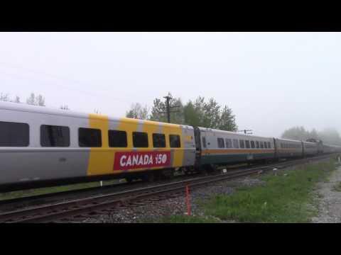 Ontario Trip 2017 Video 8 of 111: VIA 62/52  Near Newtonville Canada 22MAY17 F40PH-2d 6408 Leading