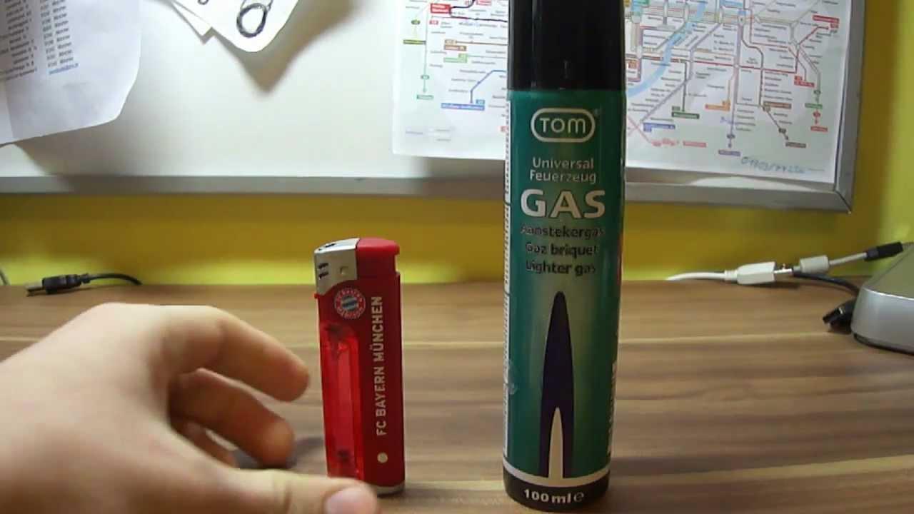 Gasfeuerzeug befüllen