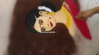 How to make poster rangoli/potrait rangoli/save girl child rangoli for competition Part 2