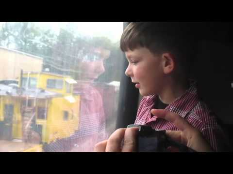 Billy & Jamison - riding Thomas the Train