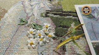 Парижанки  (PANNA ) Вышивка лентами 1 . Букет ромашек .