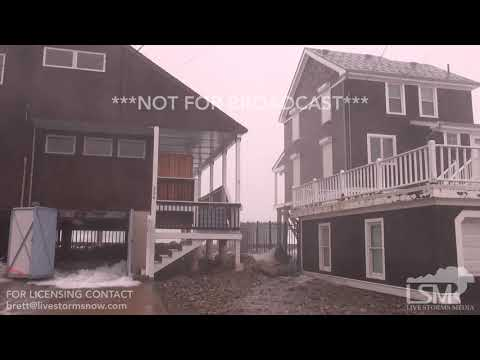 3-2-2018 Marshfield, Ma Surge flooding  ocean running down streets man trapped in car dramatic