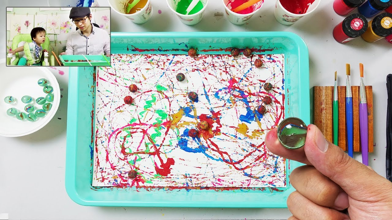 Painting With Marbles Simple And Easy Art For Kids Youtube