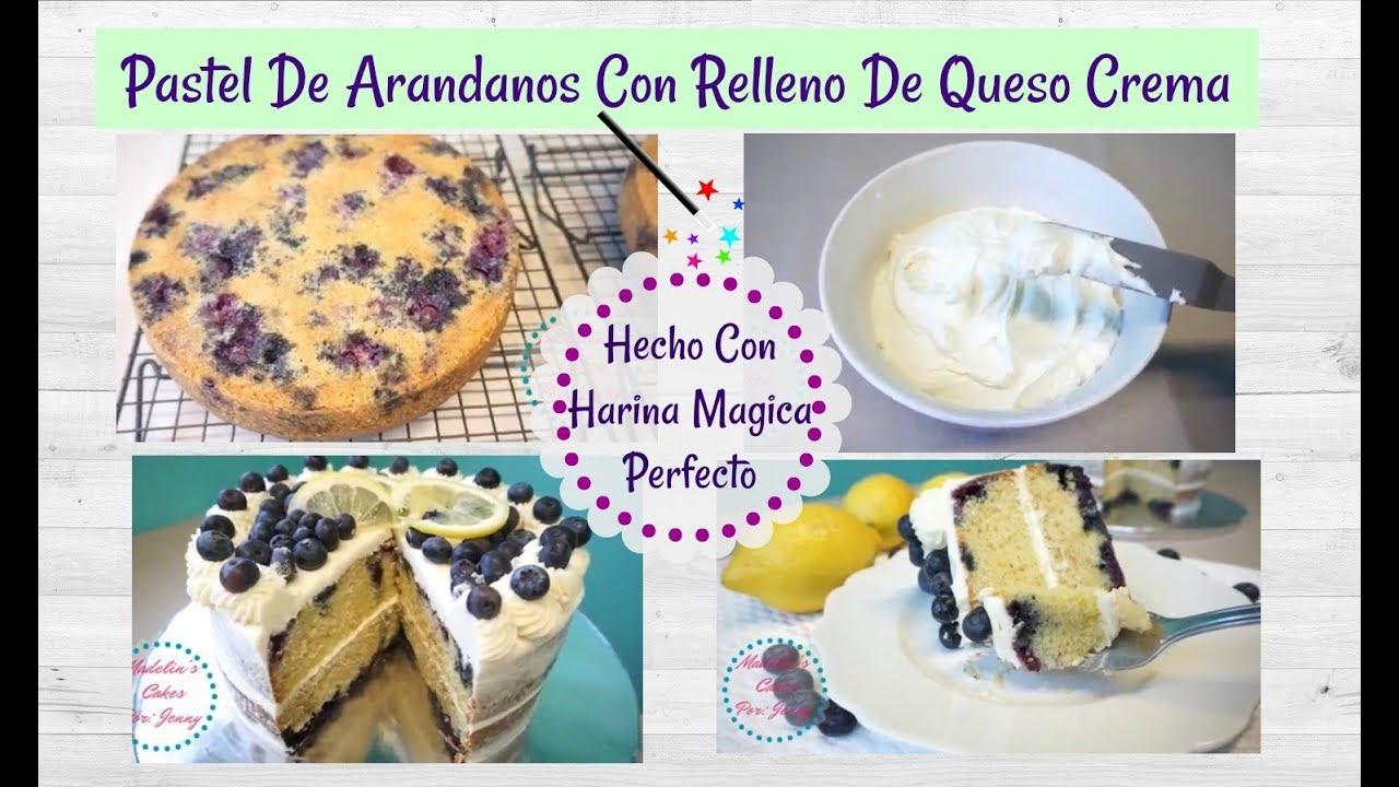Receta Pastel De Arandanos/Blueberry Con Relleno/ Harina Magica