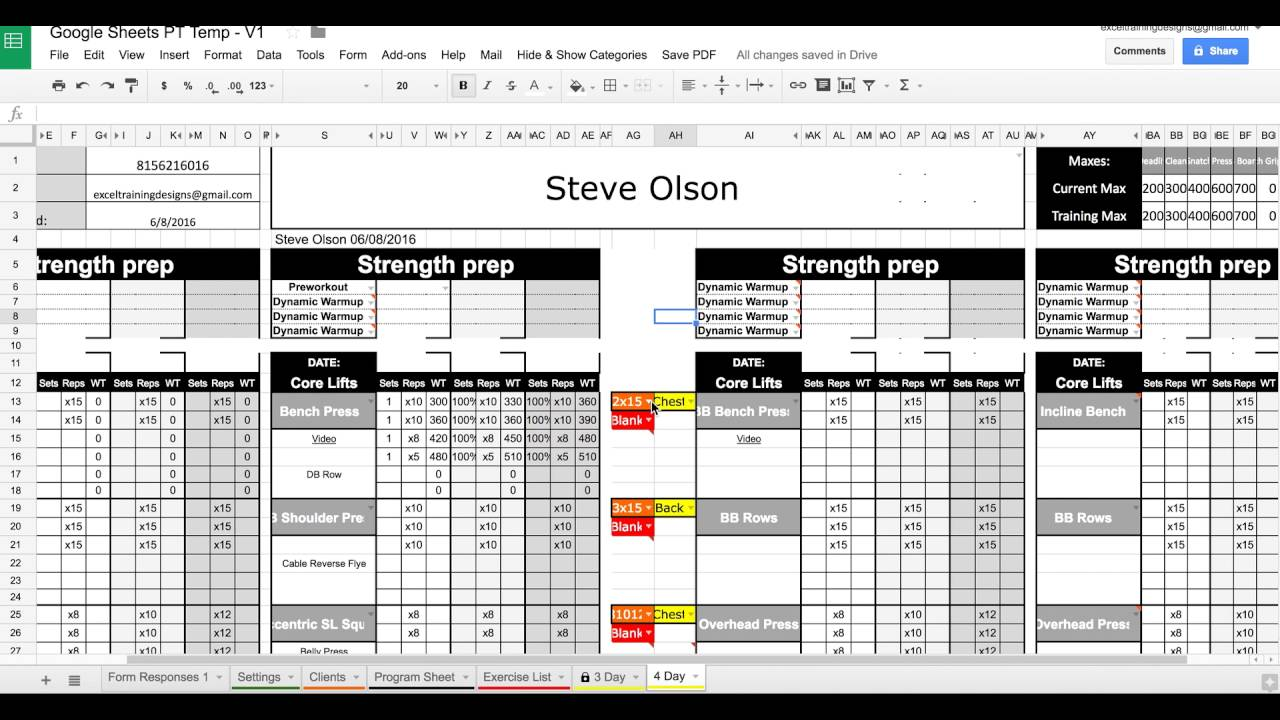 Google Sheets Training Templates - Set & Rep Dropdowns - YouTube
