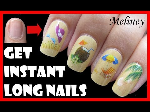 HOW TO GET INSTANT LONG NAILS FOR SHORT NAILS | EASY BEACH NAIL ART FOR SUMMER