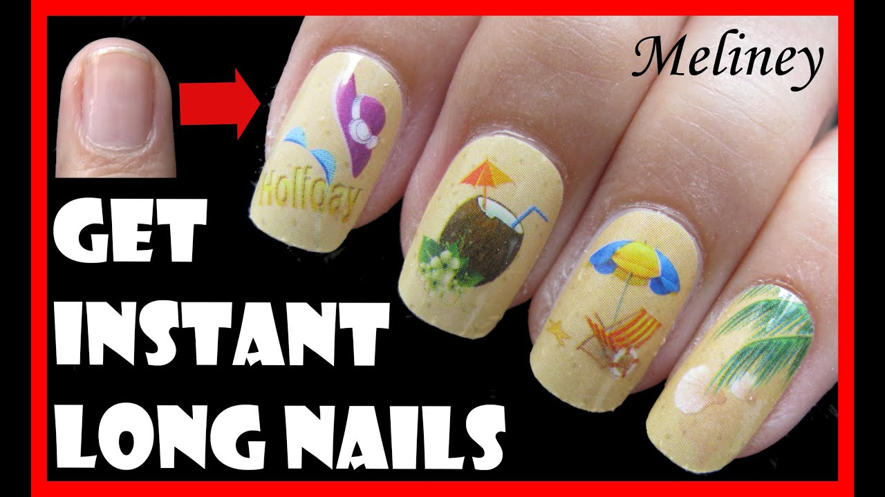 How to get instant long nails for short nails easy beach nail how to get instant long nails for short nails easy beach nail art for summer youtube prinsesfo Gallery