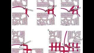 Как соединить квадратные мотивы крючком.(легкий способ)
