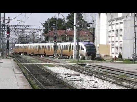 Trains at Thessaloniki station
