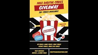 30+ Free Digital Movies and UV Redeem Codes to Ease Corona Virus Quarantine Giveaway!!!