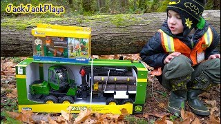 Bruder Logging Trucks Toy Unboxing - Playing with John Deere Forwarder and Log Splitter