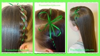 Ribbon Braid Headband and Clover Bow, St. Patrick's Hairstyle