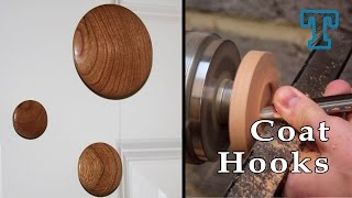 Woodturning: Cherry Wood Coat Hooks On The Lathe