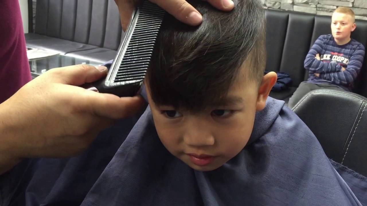 First Haircut At Barbershop Children Hair Style For 3 Years Old Boy Youtube