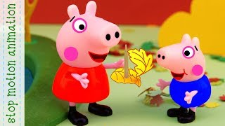 Leaf fall. Peppa Pig toys Stop motion animation new episodes 2018