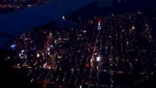 Night landing into New York LaGuardia Airport