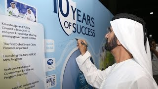 The ceremony was organized to mark 10th anniversary celebrations of mohammed bin rashid school government (mbrsg) . his highness sheikh b...