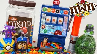 M&M's Candy Dispenser with Surprise Toys Disney Cars Mack Hauler Delivers Paw Patrol Toys!