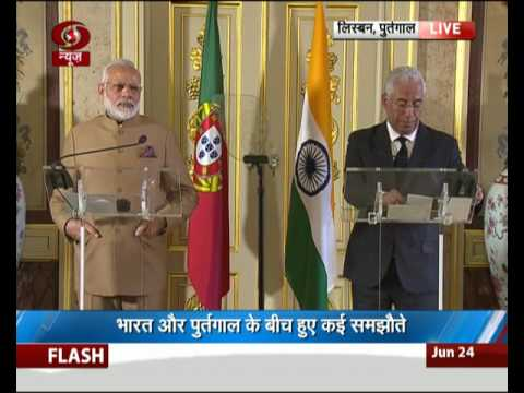 Exchange of agreements and press statements by India and Portugal in Lisbon