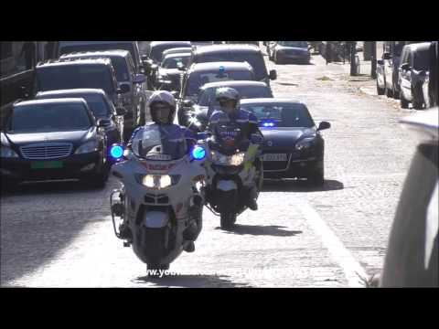 Police motorcycle escort U-N secretary general (Ban Ki-moon) in Paris.