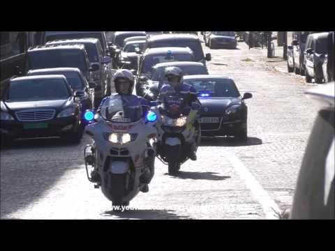 Police motorcycle escort U-N secretary general (Ban Ki-moon) in Paris.