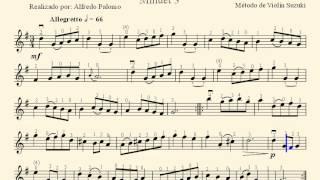 Partitura Minuet 3 J S Bach Método de Violín Suzuki Volume Nº1
