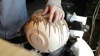 Ambrosia bowl woodturning Time-lapse
