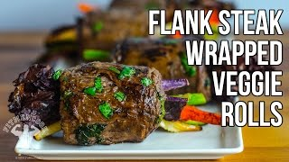 Delicious Flank Steak Wrapped Veggie Rolls Recipe / Verduras Envueltas En Bistec Flanco