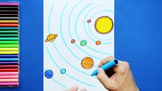 How to draw and color the Solar System