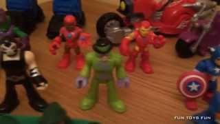 Imaginext DC Super Friends & Playskool Marvel Super Hero Adventures Toy Figure Collection 2