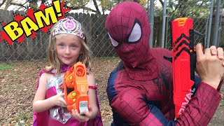 Kid Heroes 22 - BATMAN and SPIDERMAN have a GIANT STAR WARS SURPRISE in this Epic Nerf War