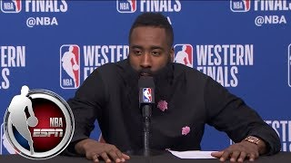 [FULL] James Harden not eager to answer question about Draymond Green after Game 1 | NBA on ESPN