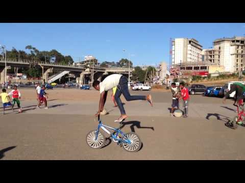 riding a bike backwards in Addis Ababa Ethiopia
