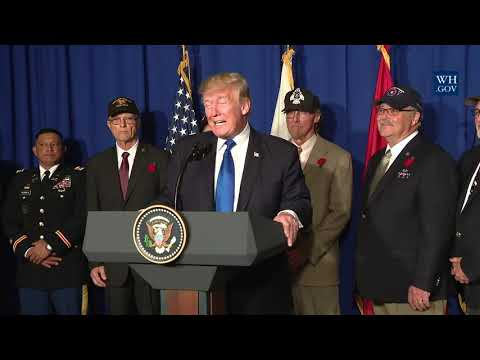 President Trump Participates in a Veterans Meet and Greet