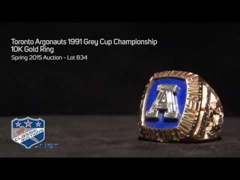 Toronto Argonauts 1991 Grey Cup Championship 10K Gold Ring
