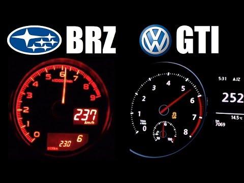 ★ Subaru BRZ (200hp) vs Golf GTI Performance (220hp) 0-250 Kph Acceleration