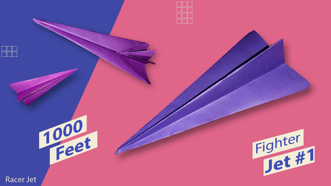 Fighter Jet - How To Make Paper Plane That Flies Far & Fast   Paper Folding Airplane