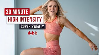 Day 19 - 30 MIN SUPER SWEATY HIIT WORKOUT - Full Body, No Equipment, *This is a tough one 🔥