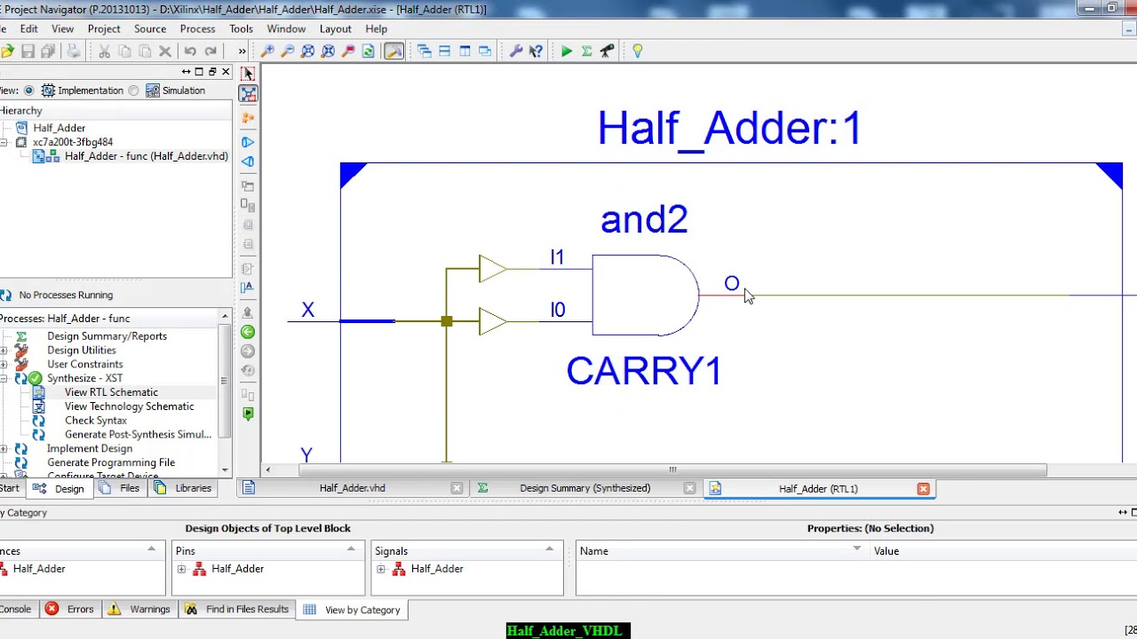 Half Adder Design and Simulation + Test Bench in VHDL using Xilinx ISE  simulator