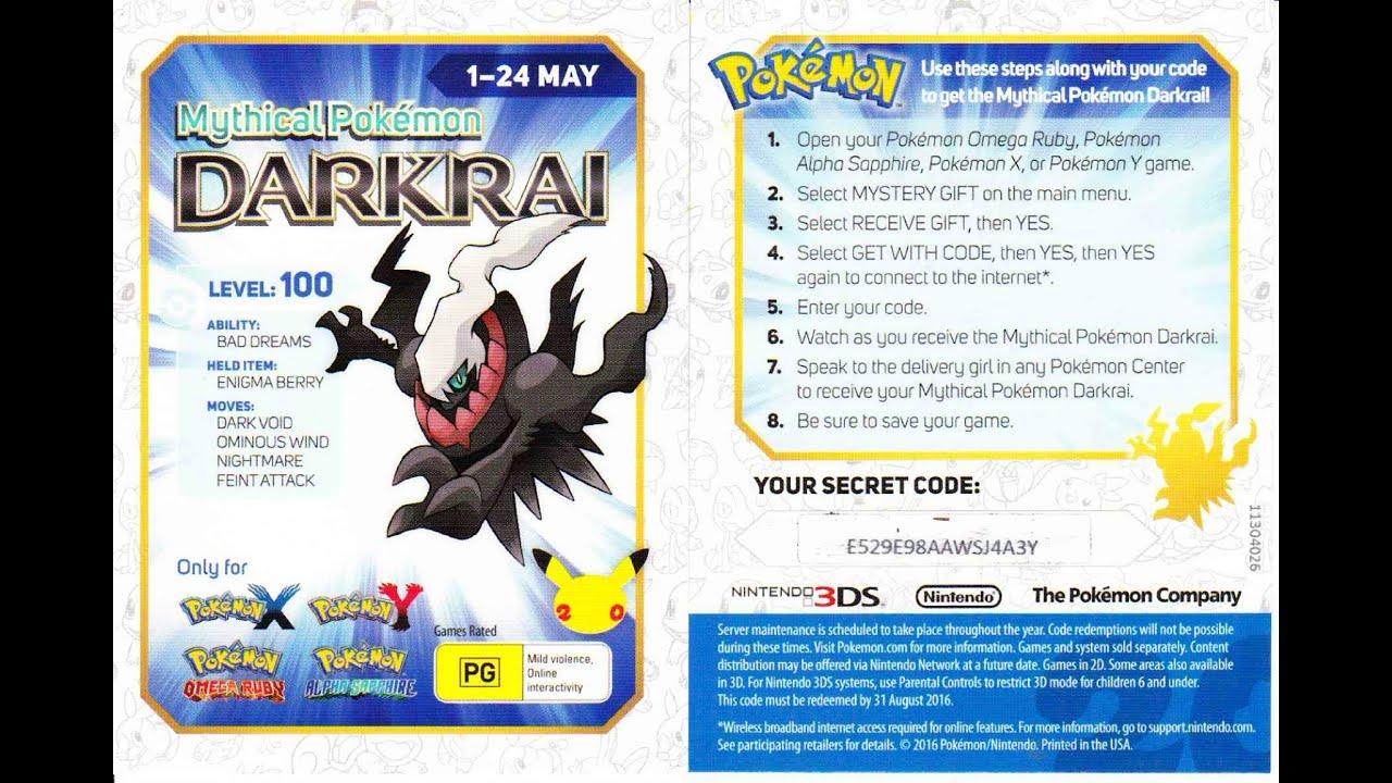 Pokemon 20: Darkrai, Free code distribution may 2016 - YouTube