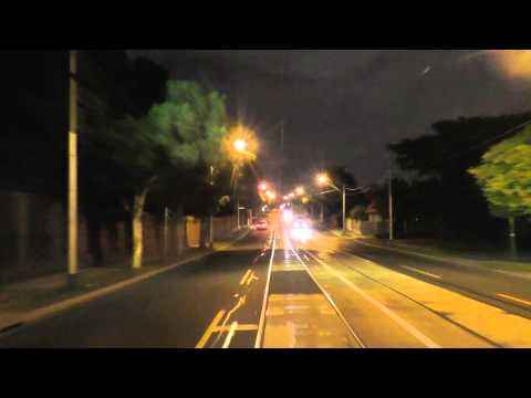 Melbourne Tram Driver View at night - Route 48 Part 1 North Balwyn to Richmond.