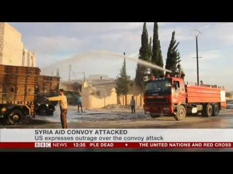 Syria aid convoy attacked UN suspends all aid
