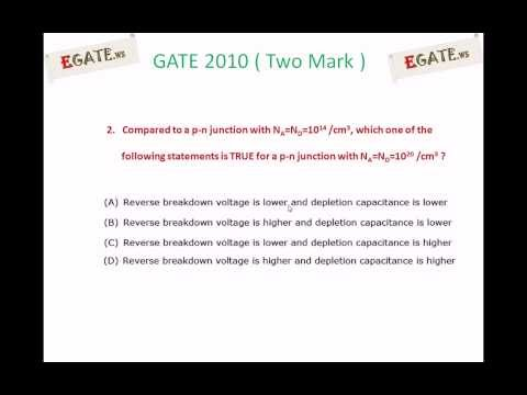 Problem on Transition capacitance and breakdown voltage - GATE 2010 Solved paper (Electron Devices)