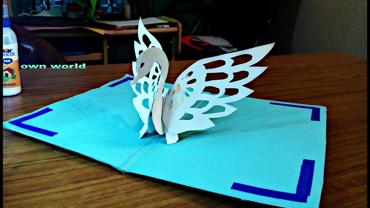 diy swan pop up cardpaper craftshandmade craft  youtube