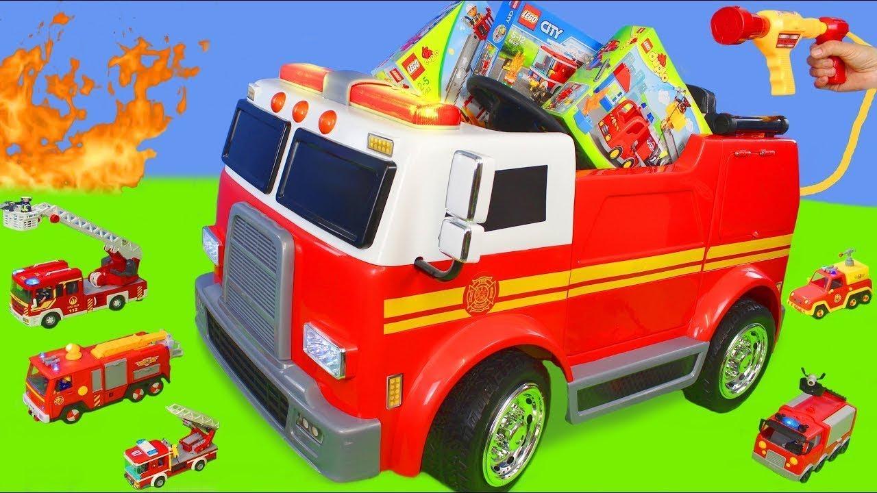 Excavadora Tractor Buldocer Juguetes Cargadora Camiones Coche De Bomberos Excavator Toys Youtube