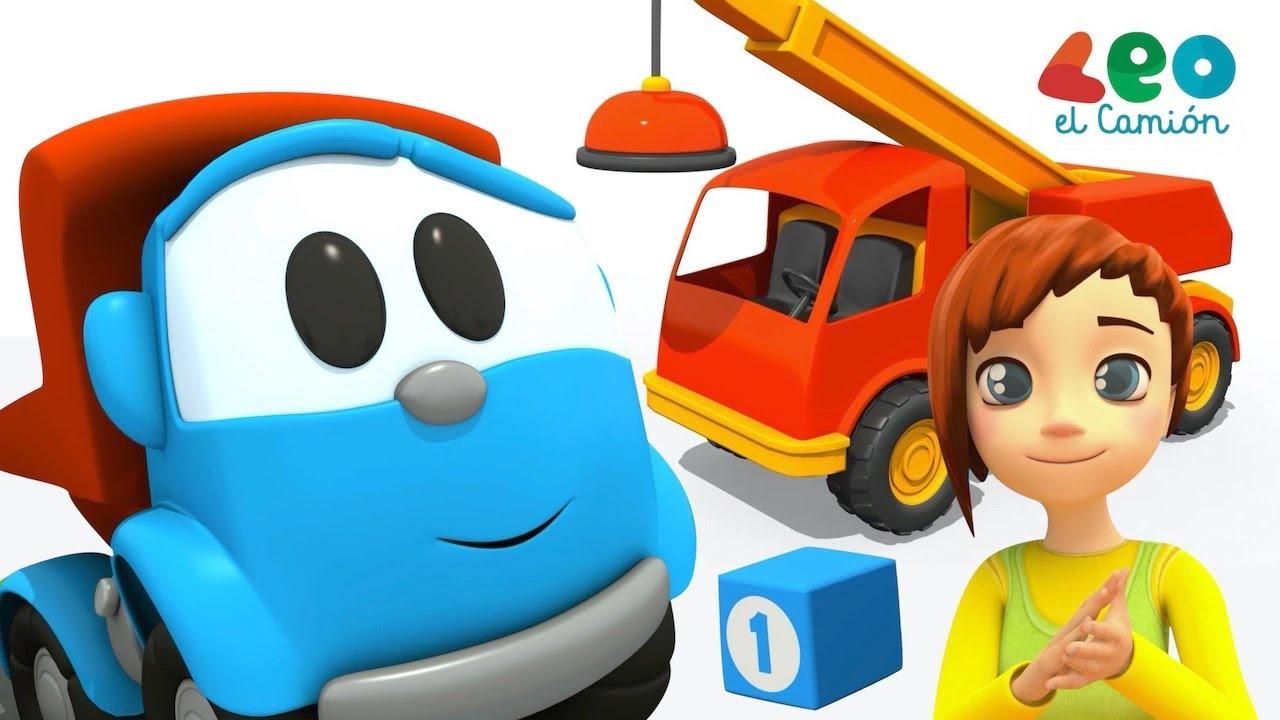 Leo el Camión -  Leo y Maria aprenden los colores en español - Gruas para niños
