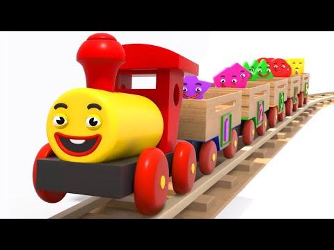 Çocuklar Için öğrenme Ahşap Tren Ile Şekilleri, Sayıları Ve Renkleri Öğreniyoruz | Tino